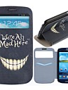 Affaire Full Body motif de dents fou en cuir PU avec logement pour carte pour Samsung Galaxy S3 I9300