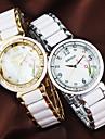 Donna Fiore Stampato Diamante manopola rotonda di ceramica della fascia del quarzo analogico Watch (colori assortiti)
