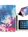 스탠드 및 iPad 공기를위한 첨필 접촉 펜을 가진 아름 다운 밤 하늘 패턴 PU 가죽 가득 차있는 몸 케이스