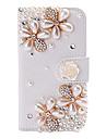 Neue Luxus-Peral Blume Strass Muster Ledertasche mit Staender fuer iPhone 4/4S