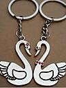 (Une paire) Oies blanches Paire Interessant de haute qualite en acier inoxydable Porte-cles Symbole de l\'amour