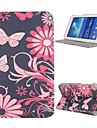 estojo de couro flores estande folio auto sleep / wake-up para Samsung Galaxy Tab 3 Lite t110