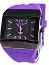 Hombre Deportivo Rectangular Dial Rubber Band cuarzo reloj de pulsera analogico (colores surtidos)