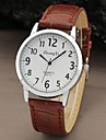 Antique Men Round Case Arabic Numbers Dial Leather Band Quartz Watch