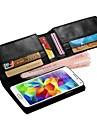 용 삼성 갤럭시 케이스 지갑 / 카드 홀더 / 플립 케이스 풀 바디 케이스 단색 인조 가죽 Samsung S5