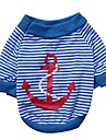 Cat / Dog Shirt / T-Shirt Red / Blue Dog Clothes Spring/Fall Stripe