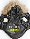 Коты / Собаки Толстовки Черный Одежда для собак Зима Буквы и цифры / Полиция/армия