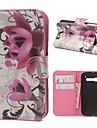 알카텔 원터치 팝 C5에 대한 자석 스냅 및 카드 슬롯 보라색 꽃 패턴 PU 가죽 케이스