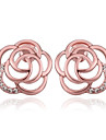 Earring Flower Stud Earrings Jewelry Women Wedding / Party / Daily / Casual Gold Plated Rose