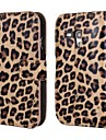 Leopard Printed PU Leather Full Body Case with Strap and Sticker for Samsung Galaxy S3 Mini I8190