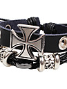Men\'s Multilayer Cross Black Leather Wrap Bracelet