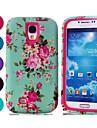 삼성 갤럭시 S4 / i9500를위한 뜨거운 판매 파랑 꽃 무늬 패턴 힘든 갑옷 PC와 TPU 휴대 전화 케이스 (모듬 색상)