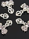 10pcs Silver Rhinestone Bowtie with Hollow Heart Dangle 3D Alloy Nail Art Decoration