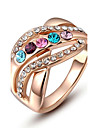 Christmas Gift Classic Genuine Austrian Crystals Rose Gold Plated Colorful Stones Ring Jewelry Party OFF