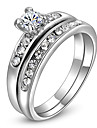 ROXI Delicate Zircon Earrings Fashion Platinum Plated Band Ring(2 Pcs)