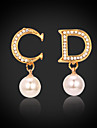 Earring Number Drop Earrings Jewelry Women Wedding / Party / Daily / Casual Crystal / Imitation Pearl / Rhinestone / Gold Plated