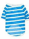 Gatos / Caes Camiseta Vermelho / Azul / Cinzento Roupas para Caes Primavera/Outono Riscas