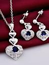 moda (design do coração) prateados (inclui colar&brinco) conjunto incrustada zircão jóias (1 sets)
