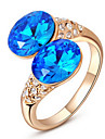 Roxi Exquisite Rose-Gold Plated Double Blue Stone Statement Rings(1 Pc)