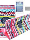 COCO FUN® Red Tribal Carpet Pattern PU Leather Flip Stand Case with Film and Stylus for Samsung Galaxy Tab 4 T330
