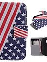 Для Кейс для  Samsung Galaxy Кошелек / Бумажник для карт / со стендом / Флип / С узором Кейс для Чехол Кейс для Флаг Искусственная кожа