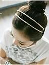 lureme® 한국 스타일의 아름다운 실크 뜨개질 더블 헤드 밴드 (색상 랜덤)