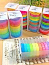 30pcs δημοφιλή Washi ουράνιο τόξο κολλώδη κόλλα χαρτί συγκάλυψης διακοσμητικά scrapbooking ταινία DIY για διακοσμητικούς 10 χρώματα