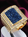 Fashion Gold Zircon 18k Gold Plated Alloy Statement Rings(1pc)