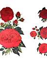 1 개는 방수 큰 그림은 붉은 꽃 패턴 문신 스티커를 다시 게시