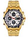 남성 손목 시계 석영 LED / LCD / 달력 / 크로노그래프 / 방수 / 듀얼 타임 존 / 경보 합금 밴드 골드 상표-