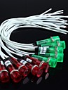 LED Lights With Wire(Red + Green)10Pcs