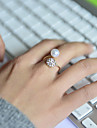 Band Rings Pearl Rhinestone Simulated Diamond Alloy Adjustable Silver Jewelry Wedding Party Daily Casual Sports 1pc
