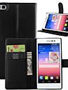 Для Кейс для Huawei / P8 Кошелек / Бумажник для карт / со стендом / Флип Кейс для Чехол Кейс для Один цвет Твердый Искусственная кожа