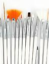 15pcs witte steel nail art design schilderij tekenpen borstel set&5pcs 2-weg puntjes marbleizing pen