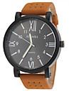 JUBAOLI® Men's Military Design Khaki Leather Band Quartz Wrist Watch Cool Watch Unique Watch