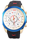 Man\'s Quartz Wrist Watch Round Dial Fashion Silicone Strap With Calendar (Assorted Colors)
