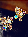 Stud Earrings Pearl Cubic Zirconia Rhinestone Alloy Gold Rainbow Jewelry 2pcs