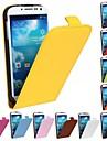 Для Кейс для  Samsung Galaxy Флип Кейс для Чехол Кейс для Один цвет Искусственная кожа Samsung S4