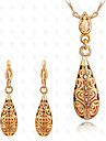 May Polly 18K gold plated hollow Drop Necklace Earrings Set
