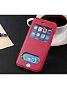 For iPhone 8 iPhone 8 Plus iPhone 6 iPhone 6 Plus Case Cover Card Holder with Stand with Windows Flip Full Body Case Solid Color Hard PU