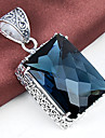 Unique Square Antique Fire London Blue Topaz Gem 925 Silver Necklaces Pendants For Wedding Party Daily Casual 1pc