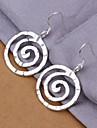 Round Screw 925 Silver Drop Earrings Wedding/Party/Daily/Casual 2pcs