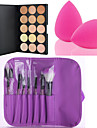 15 Colors Contour Face Cream Makeup Concealer Palette + 7PCS Purple Makeup Brushes Set Kit + Powder Puff
