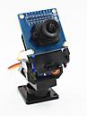 2 eixos camera fpv berco cabeca + set camera ov7670 para robo / r / c carro - preto + azul