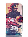 Summer Story Pattern PU Leather Painted Phone Case For iPhone 4/4S