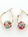Drop Earrings Crystal Rhinestone Gold Plated Simulated Diamond 18K gold Fashion Golden Screen Color Jewelry 2pcs