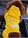 Gatos Caes Camisola com Capuz Macacao Amarelo Roupas para Caes Inverno Primavera/Outono Desenhos Animados Fofo Casual