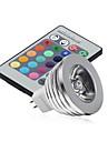 5pcs 2.5w mr16 rgb a conduit la lampe ampoule 16 couleur changeant + ir remote (ac / dc12v)