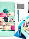 코코는 아이폰 4 / 4S를위한 스크린 보호 및 USB 케이블과 스타일러스 다채로운 마카롱 패턴 PU 가죽 케이스를 fun®
