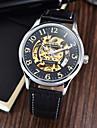 남성 손목 시계 기계식 시계 방수 오토메틱 셀프-윈딩 가죽 밴드 블랙 브라운